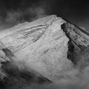 Misty white mountain