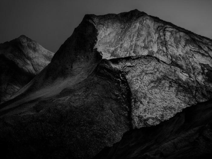 Black moonlit mountains